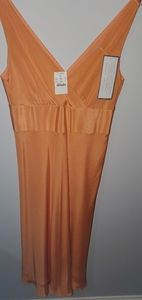 Peachy-tangerine silk dress